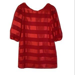 Amy Byer Red Stripe 3/4 Sleeve Knit Party Dress